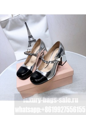 MIU MIU LEATHER PUMPS Strap with chain and button 65 mm heel Silver/Black