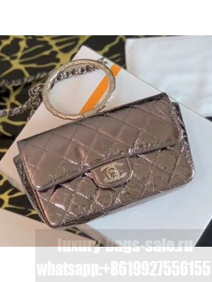 Chanel Quilted Metallic Leather Flap Bag with Ring Top Handle AS1665 Silver 2020 Collection