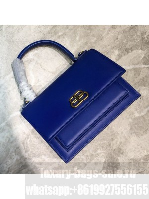Balenciaga Sharp XS Satchel Top Handle Bag in Black Smooth Leather Blue 2020 Collection