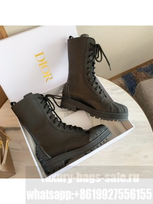 DIOR IRON ANKLE BOOT Black Rubber and Calfskin Lace-up Boots 2020