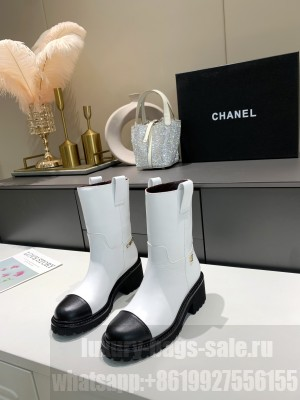 Chanel Calfskin 5cm White Ankle Boots 2021 Collection