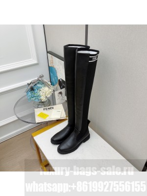 FENDI ROCKOKO Black leather Over-the-Knee Boots with Black stretch fabric 02 2021 Collection