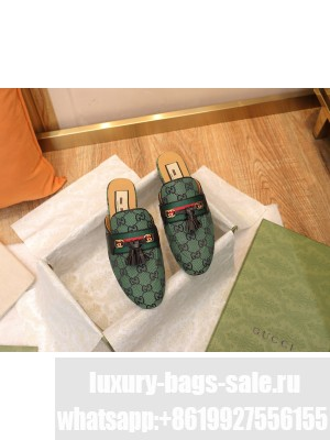 Gucci GG Multicolor Canvas Slipper with Tassels Green 2021 Collection