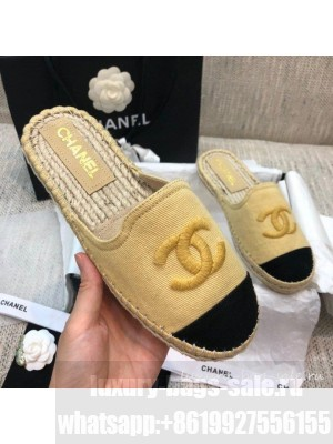 Chanel Denim Espadrilles Mules G37482 Yellow  2021 Collection