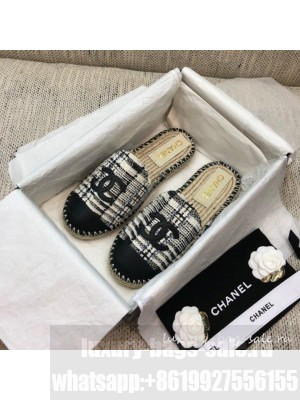 Chanel Tweed Espadrilles Mules G37482 Black  2021 Collection