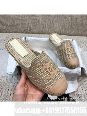 Chanel Tweed Espadrilles Mules G37482 Beige  2021 Collection