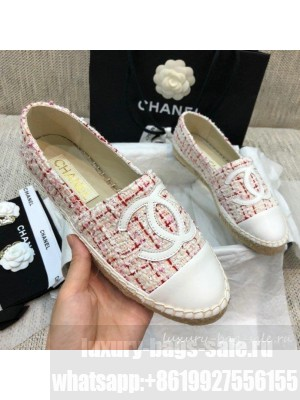 Chanel Tweed Flat Espadrilles G29762 Pink  2021 Collection