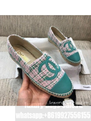 Chanel Tweed Flat Espadrilles G29762 Green  2021 Collection
