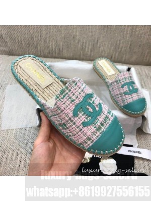 Chanel Tweed Espadrilles Mules G37482 Green  2021 Collection