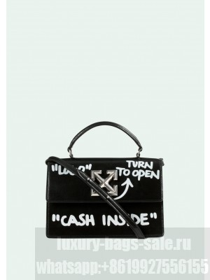 """Off-White Black Jitney bag with """"CASH INSIDE"""" Three size"""